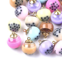 10pcs Resin Glass Round Pendants Smooth Mini Cute Charms Jewelry Making 20x16mm