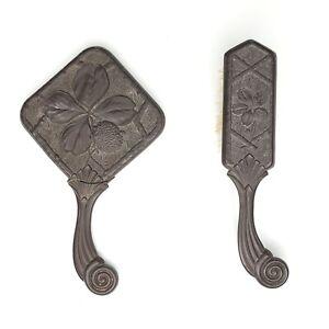 Antique Florence Gutta Percha Hand Mirror Hair Brush Victorian Vanity Set 1883