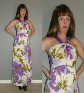 S Vtg 60s VERA NEUMANN Signed Purple & Green Asian Floral Keyhole Cut Out Dress