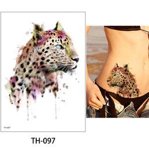 Temporary Tattoo Animal Tiger Leopard Lion Body Art Fake Waterproof 21cm x 15cm
