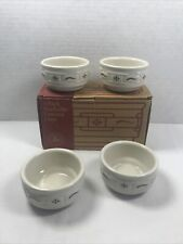 Nib Longaberger Pottery 4 Pack Stackable Custard Cups Classic Blue 35009