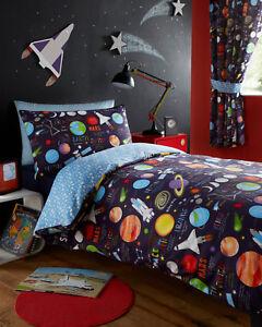 Planets Outer Space Ship Rocket Kid Boy Reversible Duvet Quilt Cover Bedding Set