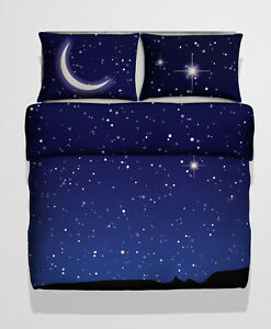 Double Size Starry Sky Photo Print Duvet cover Bed Set Night Sky Satellite