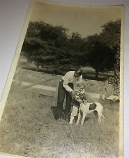 Beautiful Antique Father & Child, Lovely Pet Dog, Farm! Real Photo Postcard RPPC
