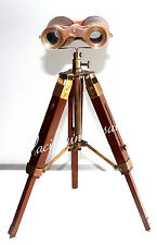 ANTIQUE MARITIME COLLECTIBLE BINOCULAR WITH WOODEN TRIPOD SHIP INTRUMENT.