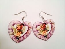Vintage Angel Cherub Valentines Day Earrings HANDMADE PLASTIC CHARMS