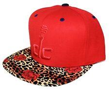 Washington Wizards Rose / Leopard Brim Mitchell & Ness SnapBack Hat Red / Navy