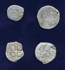 SPANISH COLONIAL 1 REAL SILVER COB COINS, VG to ABOUT VF, GROUP LOT OF (4)