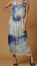 Women's Flowing Silk Long Dress Made Italy Designer Scandal One Size White Blue