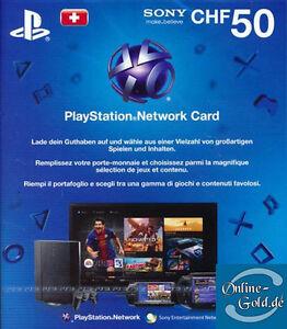 50 CHF PlayStation Network Card Sony PSN Gutschein Key nur für Schweiz NEU [CH]