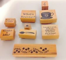 Stampin Up 1999 What's Brewin Set of 9 Rubber Stamps Coffee Tea Mug Bean Brewing