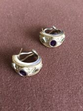 Stunning 925 silver, 14K post, trim, Amethyst and Tanzanite earrings.....PAJ