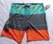 NWT Mens 38 Surfer Ocean Current Board Shorts Tropical Print Front Tie  NEW