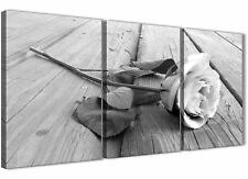 3 Piece Black White Rose Floral Kitchen Canvas Accessories - 3372 - 126cm