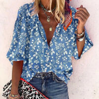 Women's Top  Loose Casual Half Sleeve Floral Printed V Neck Button Shirt