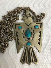 New ListingThunderbird Necklace 30� Bells Trading Post Vtg Nickel Silver And Turquoise