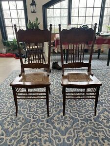 Antique pair oak pressed back chairs musical Lyer patter & cane seats Ca. 1890s