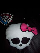 "GOTH MATTEL 4"" MONSTER HIGH PLUSH SKULL W/PINK BOW CLIP ON CHANGE PURSE-POUCH"