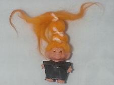 "VINTAGE 1960s Dam Scandia 2.5"" Troll Doll Orange Hair Amber Eyes Cotton Outfit"