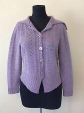 Jillian Jones Women's Lavender Angora Lambswool Cardigan Sweater Size Large