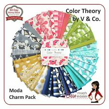 Color Theory by V & Co Colour Moda Charm Pack Squares Fabric retro modern bright