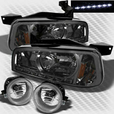 For Smoked 06-10 Dodge Charger 2in1 LED Smoke Headlights+Bumper Fog Lights