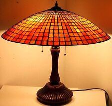 X-LARGE TIFFANY STYLE VINTAGE SLAG GLASS ARTS & CRAFTS TABLE LAMP *SUNSET COLOR*