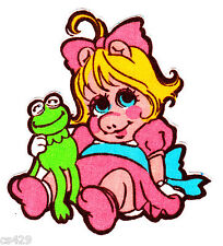 "3.5"" MUPPET BABIES  BABY KERMIT  CHARACTER FABRIC APPLIQUE IRON ON"