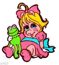 "3.5"" Muppet babies baby miss piggy kermit frog vintage fabric applique iron on"