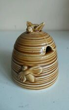 Vintage Old Beehive Honey Pot Container Jar W Bee Finial FREE Honey Dipper Kitc