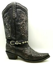Corral Vintage Bronze Leather Studded Jeweled Buckle Cowboy Boots Women's 11 M