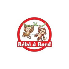 Decal Sticker child Baby à bord Monkeys 16x16cm ref 3575