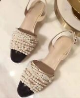 Faux Leather Colourblock with Glass Pearls Slingbacks Beige or Black Pump Shoes
