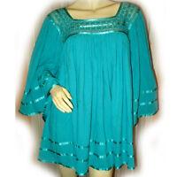 VINTAGE Womens Bell 3/4 Sleeve Oversized Top Blouse Plus Size 1X Green Crochet