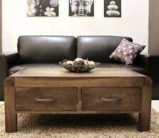 Shiro solid walnut dark wood furniture four drawer storage coffee table