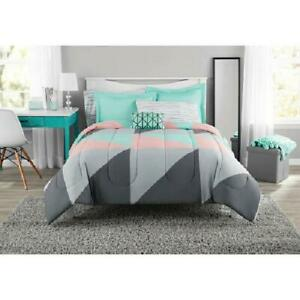 Mainstays Gray And Teal QUEEN SIZE Bed In A Bag Comforter Set SHEETS NEW