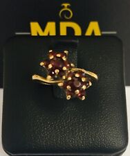 9CT YELLOW GOLD GARNET DOUBLE CLUSTER RING