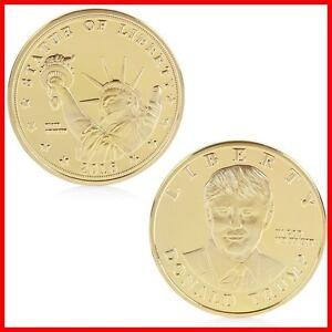 MEDAILLE DONALD TRUMP Plaqué Or 24 K Collection President Etats Unis  Medal Gold