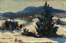 1940's Impressionist Snow Scene By Listed American Female Artist Mary S Spencer