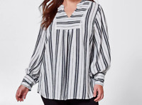 Ladies plus size 16 + BELLE CURVE navy white peasant blouse top NEW RRP$49