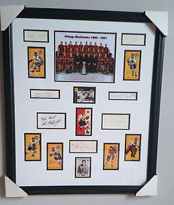 1960-61 Chicago Blackhawks Stanley Cup Champs Framed w/ 16 autographs JSA Letter