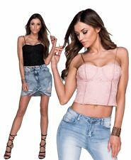 Bustino corsetto donna pizzo imbottito push up top sottogiacca bustier sexy new