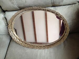 Oval Perfume Vanity Mirror Gold Filigree Edge With Hook For Hanging
