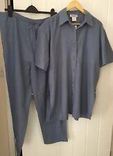 100% Pure Silk Ladie Grey Blue Set Shirt + Trouser  Size L 16-18 brand new