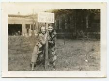 """Pretty Teen Girls Pose at """"This Lot For Sale"""" Sign  Vintage 1930s Photo"""