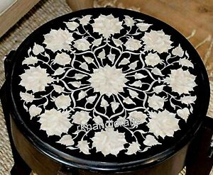 13 Inches Marble Coffee Table Top Inlay Bed Side Table with Mother of Pearl Art