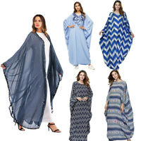 Muslim Women Loose Batwing Sleeve Abaya Kaftan Maxi Dress Dubai Cocktail Robes