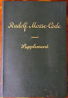 1929 RUDOLF MOSSE-CODE Supplement In Deutsch English Francais Español Portuguêz