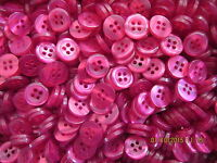 10 x Size 18 (11mm) Cerise Pink 4 Hole Buttons - Baby Sewing Knitting Craft Doll