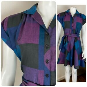 Vintage 80s Plaid Checkered Mini Secretary Dress S/M Shirtwaist Purple Black